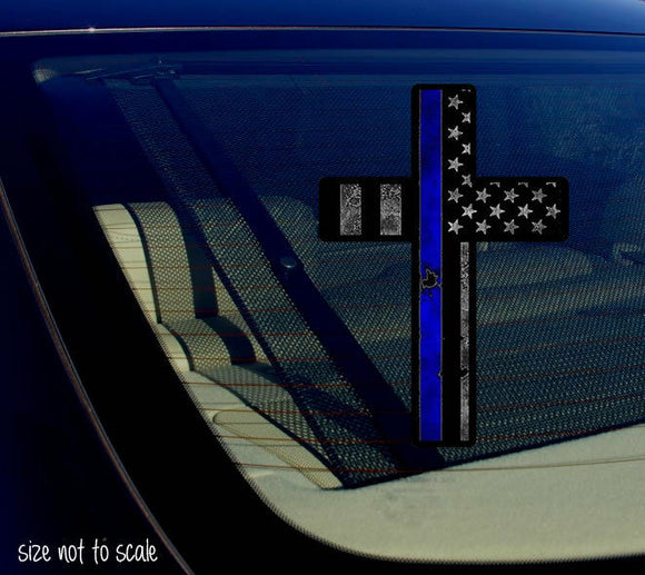 Blue Tattered Cross sticker decal - Police Christian Jesus 5