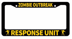 Zombie Response Vehicle / Unit Protection Funny Black License Plate Frame CC4