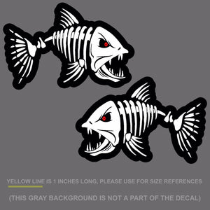 "x2 Fish Skeleton Bones Sticker Decal Angry- Fishing 10"" DigiPrint (FishSketFC)"