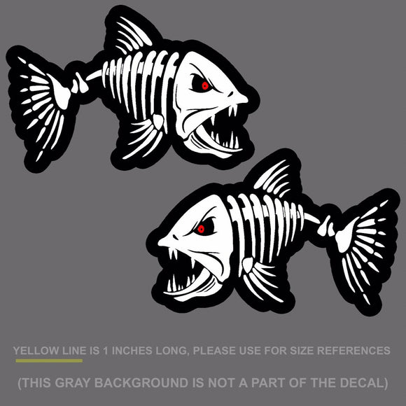 x2 Fish Skeleton Bones Sticker Decal Angry- Fishing 10