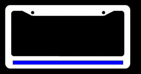 Reflective Thin Blue Line Support Police White License Plate Frame #whtFR8m