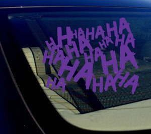 "Haha Sticker Decal Joker Serious Evil Body Window Car Purple 4"" (HAHAsqVCpurp4)"