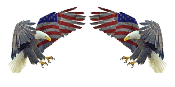 Two Bald Eagle USA American Flag Sticker Car Truck Laptop Decal Bumper Cooler