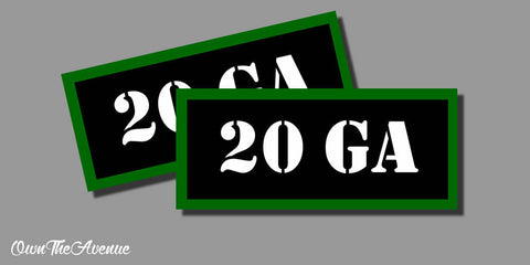 "20 GA Ammo Can Labels for Ammunition Case 3.5"" x1.50"" stickers decals(2PACK)"