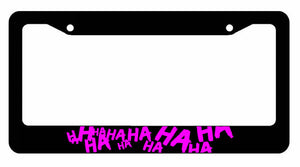 Joker Hahaha Serious Super Bad Evil Purple License Plate Frame