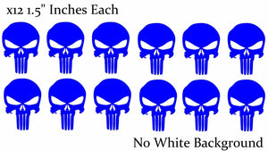 Punisher Skull Car Window Helmet RNonRef Blue Decal Stickers Pack Lot of 12