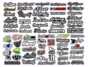 JDM 65+ CAR STICKER DECAL MEGA PACK LOT TUNER LOW FUNNY JDM BOOST MegaOS&MEGASC