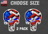 x2 Punisher Skull Vinyl Decal Sticker Hood American Flag Window Off Road