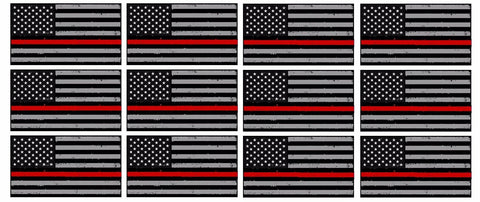 "x12 Subdued Red Tattered Flag Firefighter 2"" Helmet USA Vinyl Sticker Decal"
