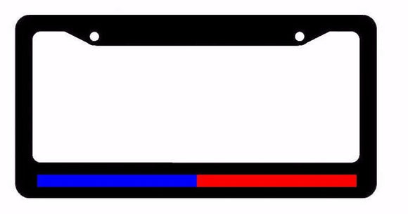 Support Police & Firefighter Blue Red Reflective Line Black License Plate Frame