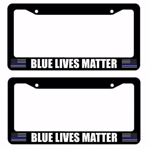 x2 / Two Lot of Thin Blue Line Support Police US Flag Black License Plate Frame