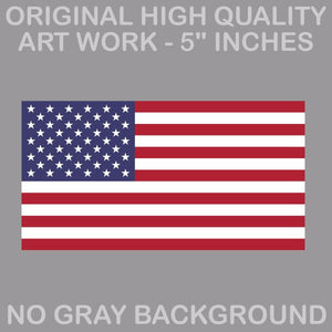 "4"" American Flag Sticker Die Cut Decal USA LH RH Regular Original America USA"