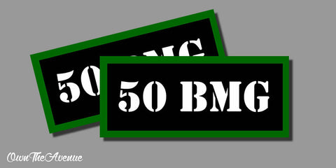 "50 BMG Ammo Can Labels for Ammunition Case 3.5"" x1.50"" stickers decals(2PACK)"