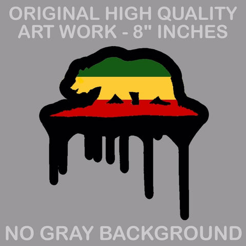 BIG Cali California Republic Bear Rasta Drip Vinyl Decal Sticker 420 Xd