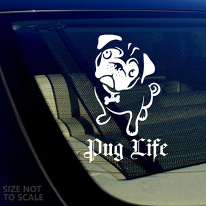 "Pug Life Dog Pet Rescue Funny Auto Window Bumper Decal Sticker 6"" #OEFModel"