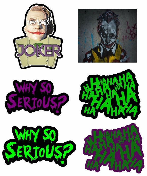Joker HahaHa Serious Super Bad Evil Vinyl Decal Sticker Pack Lot of 6 Stickers