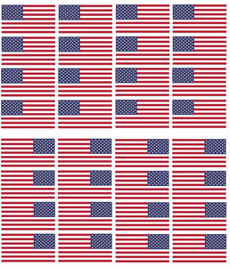 "x12 Reversed & 12 Regular American Flag 2"" Helmet USA Vinyl Sticker Decal (24pc)"