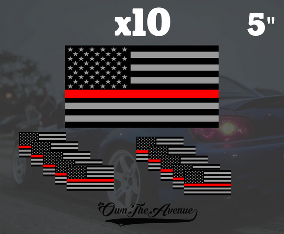 Pack Of 10 Red line Flag Sticker Decal 5