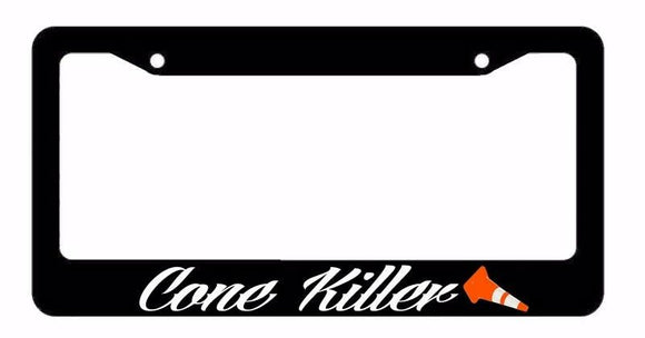 Cone Killer Track JDM Race Drift Dope Low Funny Black License Plate Frame