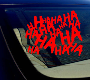 "Haha Sticker Decal Joker Serious Evil Body Window Car RED 8"" (HAHAsqVCred8)"