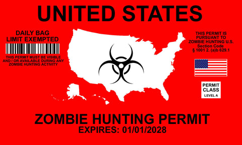 "Zombie Hunting Permit Funny Auto Window Bumper Laptop Decal Sticker 5"" Model 231"