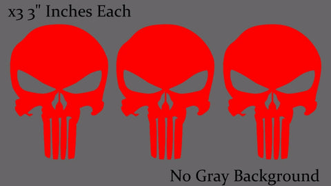 Punisher Skull Red Bumper Car Window Helmet Decal Stickers Pack Lot of 3 Decals