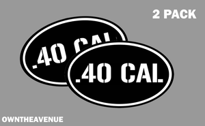 ".40 CAL oval Ammo Can -2 PACK - 5""x3"" Oval .40 CAL Vinyl Sticker Decal"
