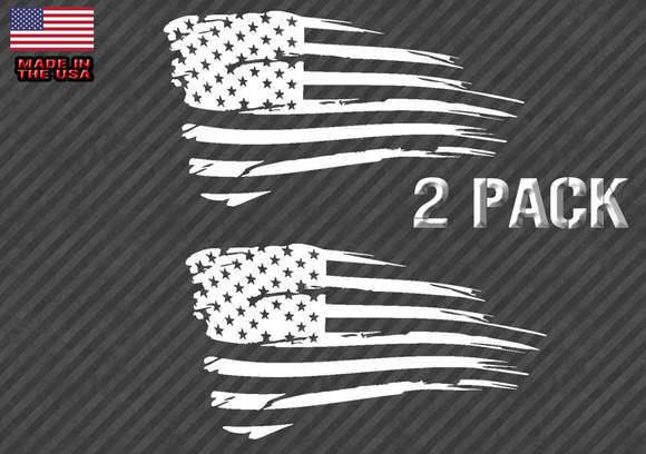 Distressed American Flag Sticker Decal Subdued USA 2 Pack CHOOSE SIZE (TatAmer)