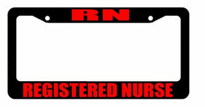 JDM RN Registered Nurse Race Drift Low Turbo Black License Plate Frame USA2 Red