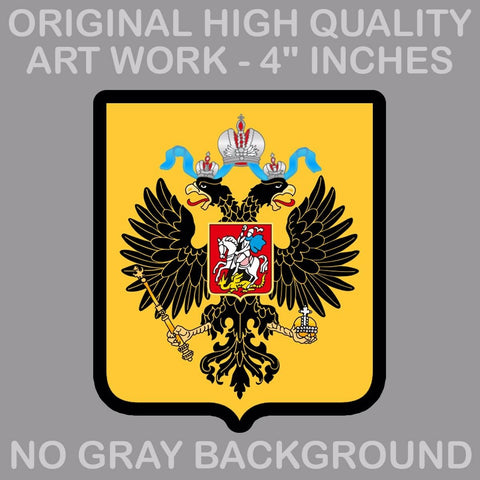 "4"" Russian Coat of Arms Sticker Decal Vinyl Russia flag RUS RU"