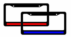 2 Thin Red Blue Line License Plate Frames Reflective Support Police And Fire #2S