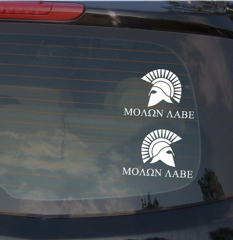 "x2 Molon Labe Spartan 2nd Amendment Vinyl Decal Sticker Pack 8"" (1reg1mirror)"