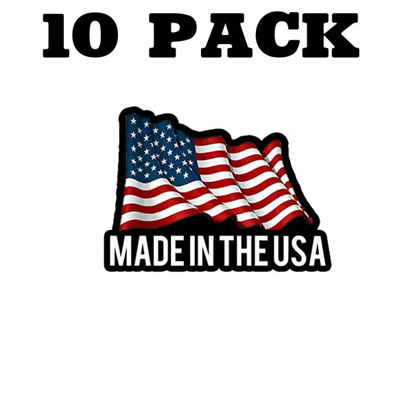 10 Pack Made In The USA Flag Sticker Decal 2