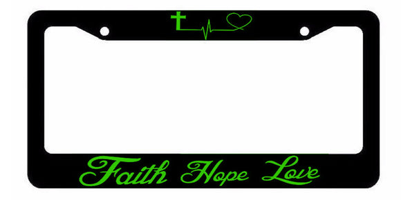 Faith Hope Love Symbol Heart Cross Christian Jesus License Plate Frame Green Art