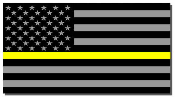 x2 Support Dispatcher Police Yellow Line Sticker Decal American Flag Emergency