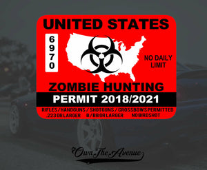 United States Zombie Hunting Permit Sticker Decal Zombie Outbreak USA