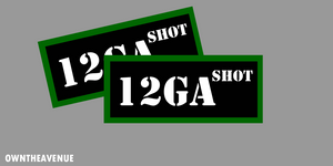 "12GA SHOT Ammo Can Labels for Ammunition Case 3.5"" x 1.50"" stickers decal 2PACK"