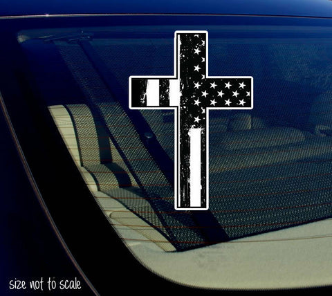 "Black & White Tattered Cross sticker decal - Christian Jesus 5"" #BWTatCross"