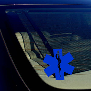 Star of Life Ambulance EMT EMS Rescue Paramedic Blue Reflective Decal Sticker 5""