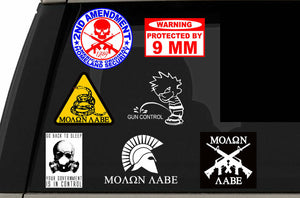 2nd Amendment Lot Pack of 7 Stickers Decals Molon Labe Spartan 300 (2ndAm7PK)