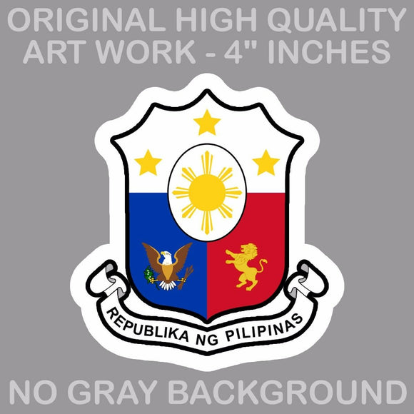 Philippine Flag Sun And Stars Philippino Coat of Arms Decal Stickers 4