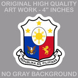 Philippine Flag Sun And Stars Philippino Coat of Arms Decal Stickers 4""
