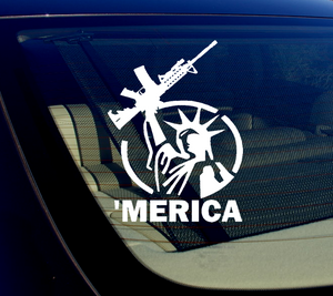 x2 / /Two 'Merica! Vinyl Decal Sticker Bumper 2nd Amendment 5.56 5""