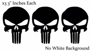 Punisher Skull Black Bumper Car Window Helmet Decal Stickers Pack Lot of 3