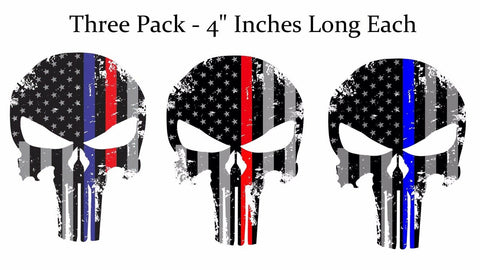 Punisher Skull Reflective Red Blue Subdued Flag Decal Stickers Pack Lot of 3