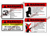Warning Sticker Pack Lot of Four JDM Funny Vinyl Decal Stickers (Warning4PK)