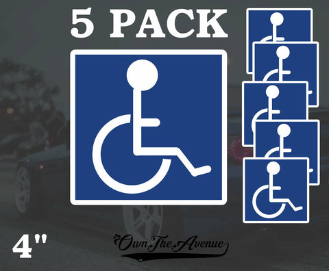 "5 Pack- Handicap Symbol Sticker Decal Disabled Sign Wheelchair 4"" each"