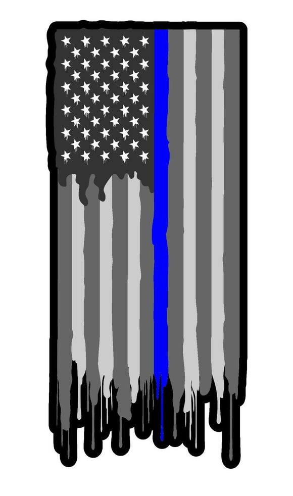 Support Police Blueline Flag Vinyl Decal Sticker Subdued American Drip Model 5