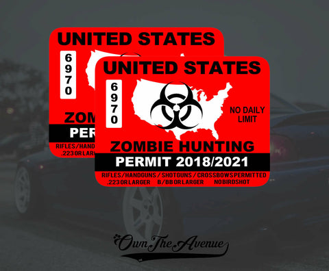 x2 United States Zombie Hunting Permit Sticker Decal Zombie Outbreak USA