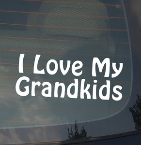 I Love My Grand Kids Grand Parent Proud Pride Love Funny Decal Sticker 7.5""